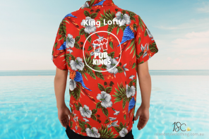 Custom Hawaiian Shirt with Added Logo for Pub Kings Annual Pub Crawl