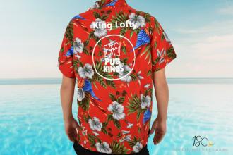 Custom Hawaiian Shirt with Added Logo for Pub Kings Annual Pub Crawl