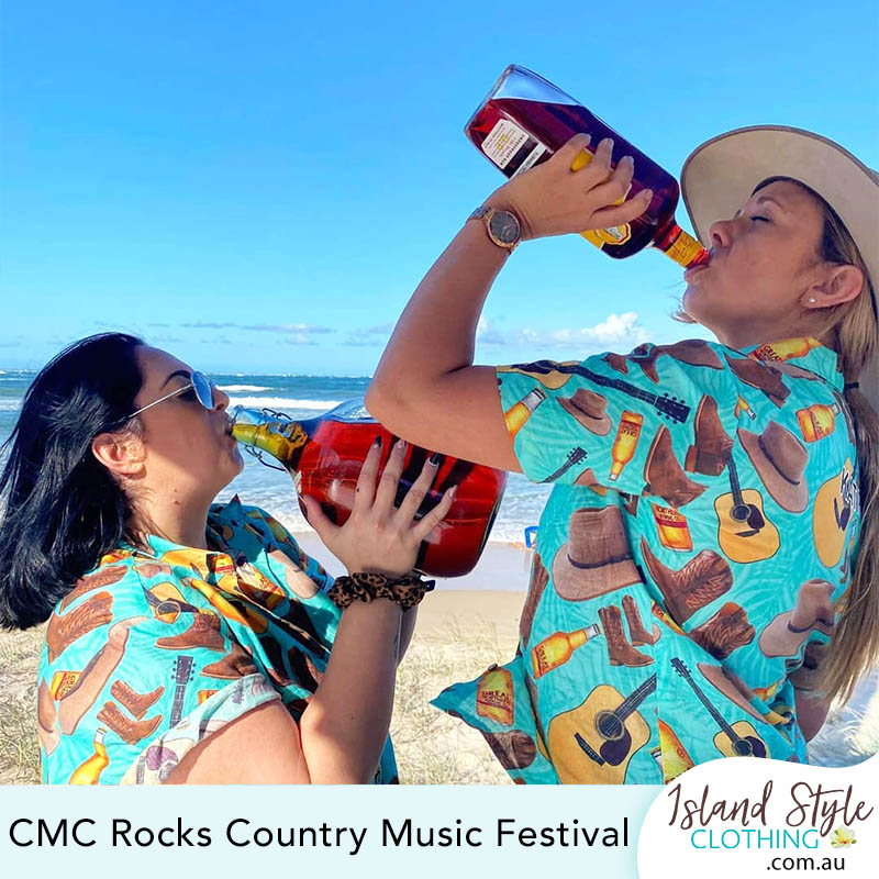 CMC Music Festival Custom Hawaiian Shirts Beer, Cowboy Boots, Akubra, Guitar
